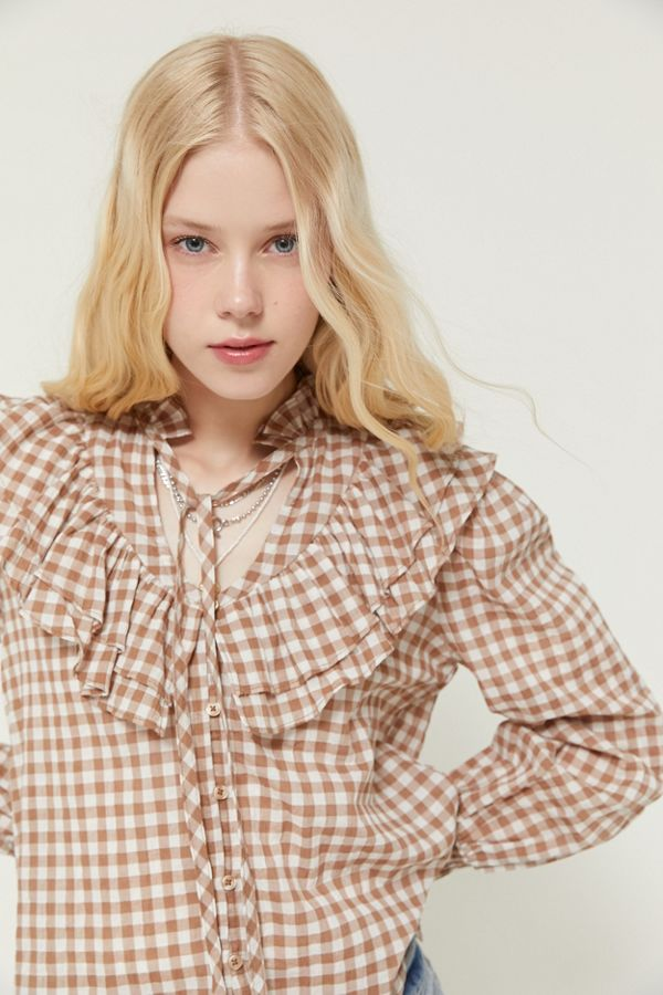 UO McKenzie Ruffle Button-Down Blouse