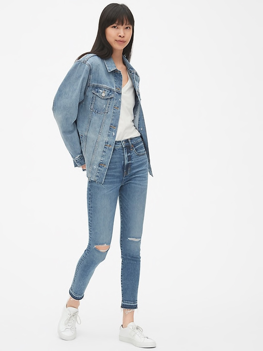 Oversized Distressed Icon Denim Jacket By GAP