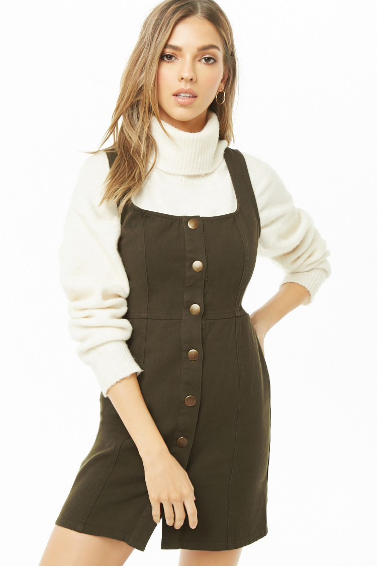 Forever 21 Button-Front Square Neck Dress