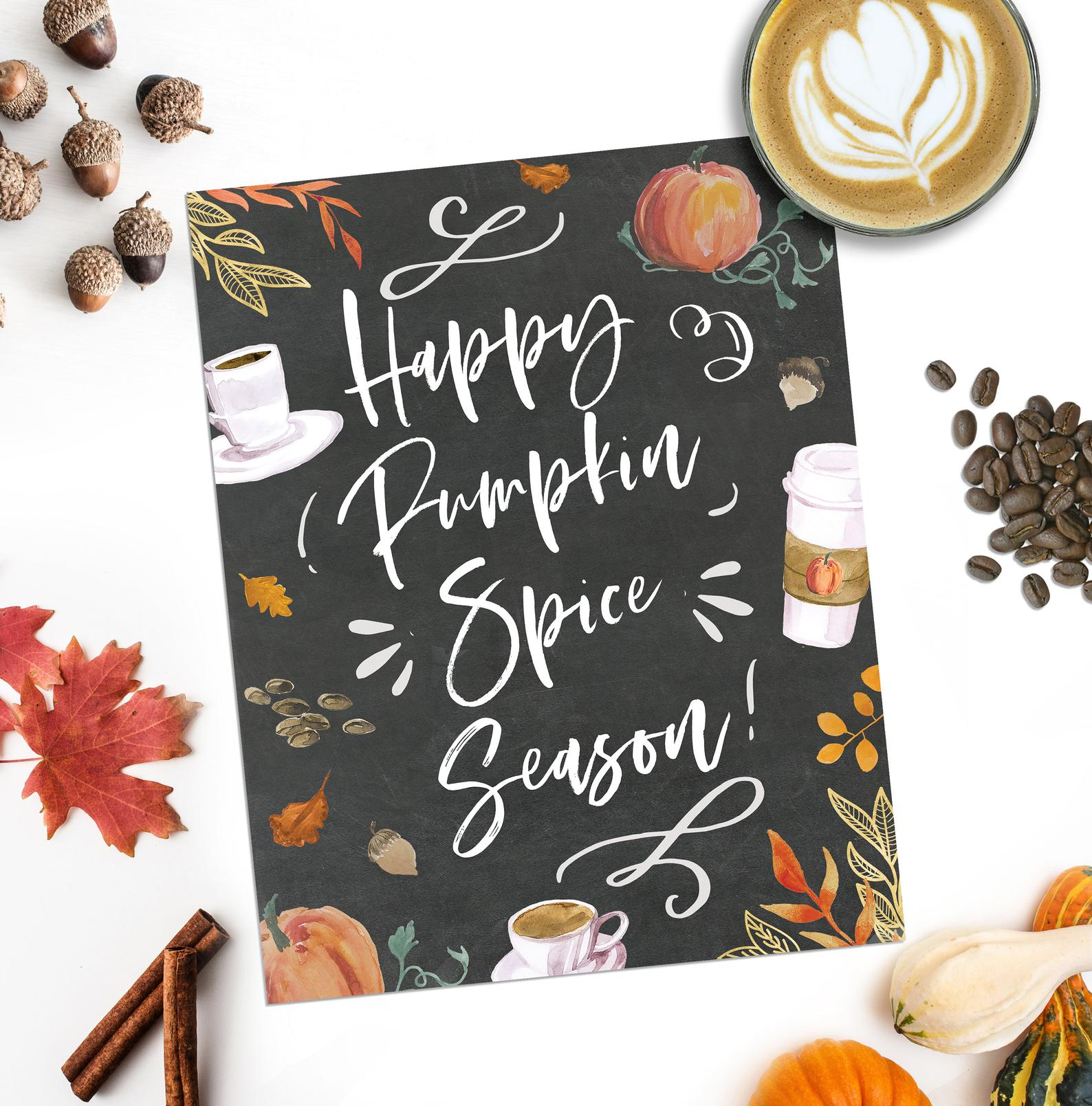 Happy Pumpkin Spice Season Printable Fall Home Decor By Adoren Studio
