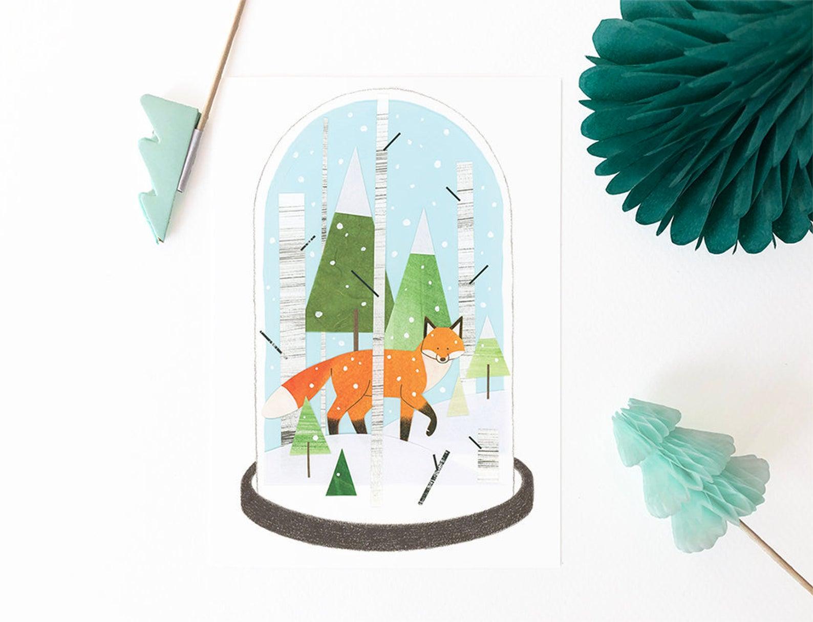 Fox in Snow Globe Wintery Scene Illustration By Mila Made Illustraties