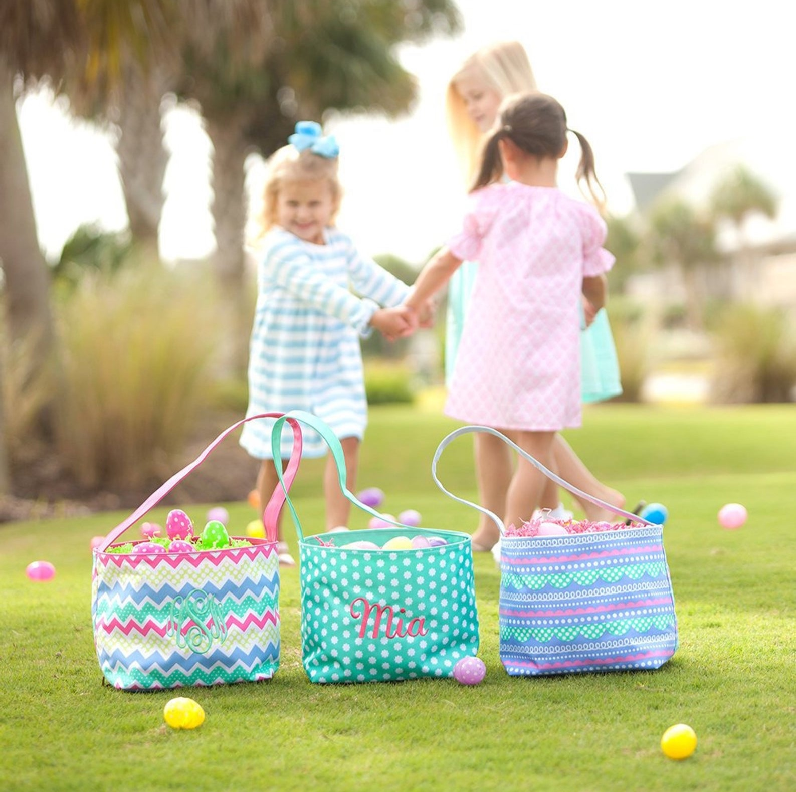 Personalized Monogrammed Girls Easter Baskets By Monkey See Boutique