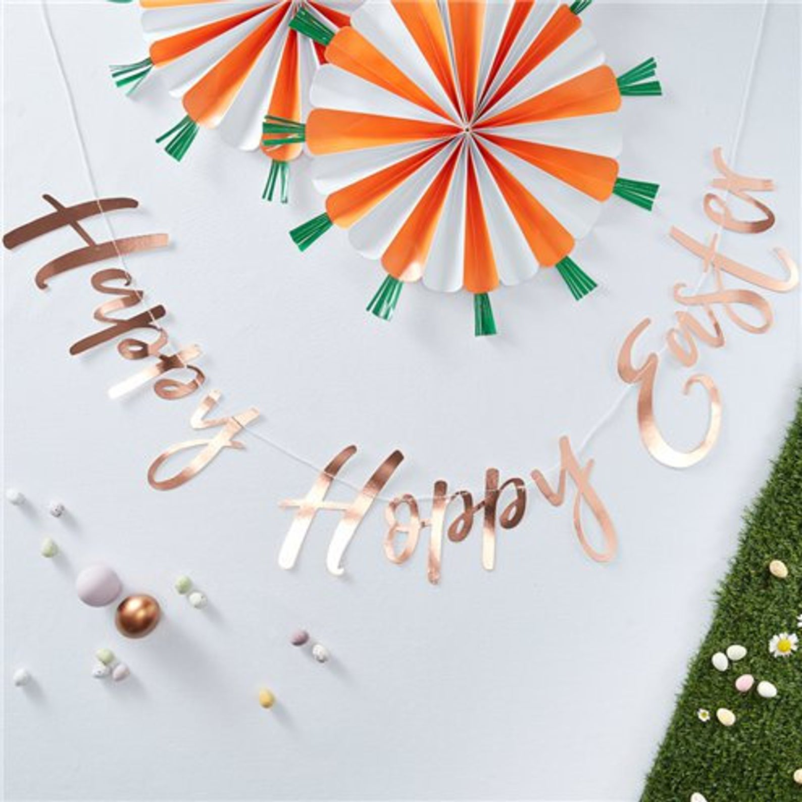 Rose Gold Happy Hoppy Easter Banner By The Dream Party Shop