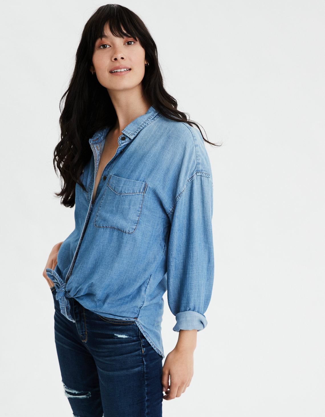 AE Oversized Denim Button Up Shirt