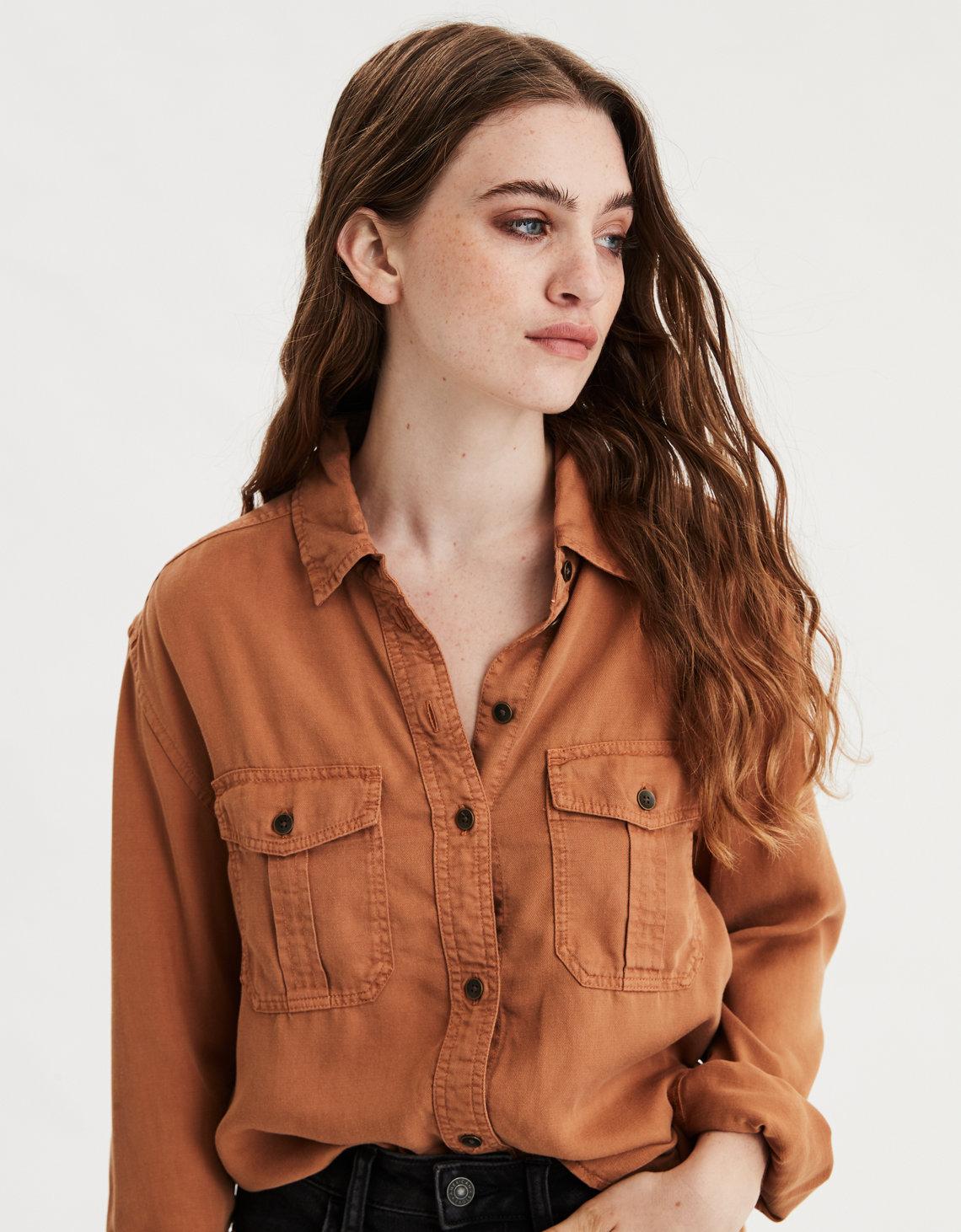 AE Military Pumpkin Rust Orange Button Up Shirt