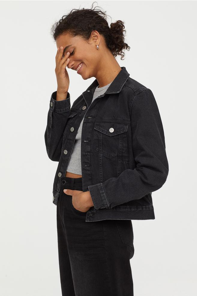 Black Dark Wash Denim Jacket By H&M