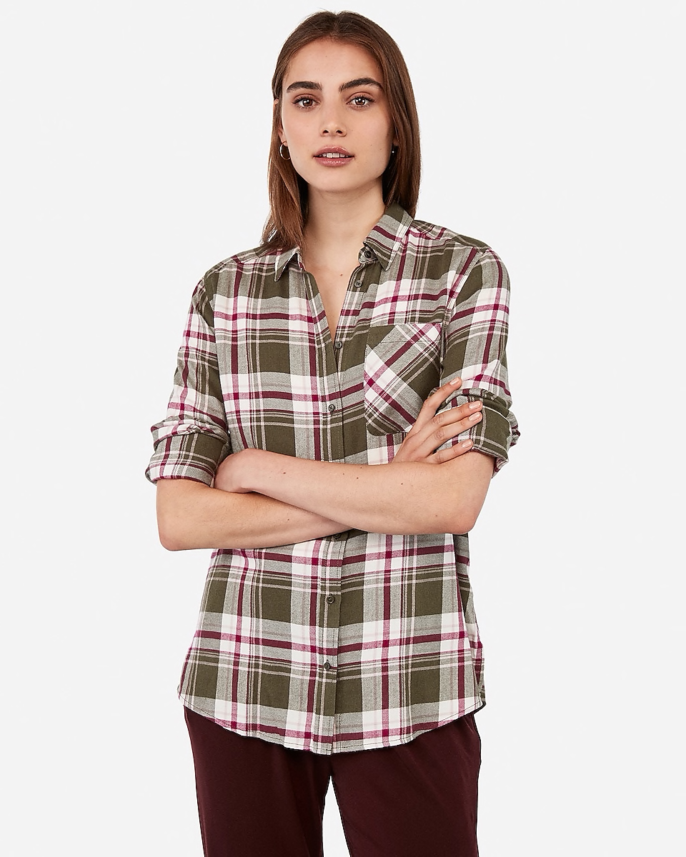 Plaid Flannel Boyfriend Shirt By Express