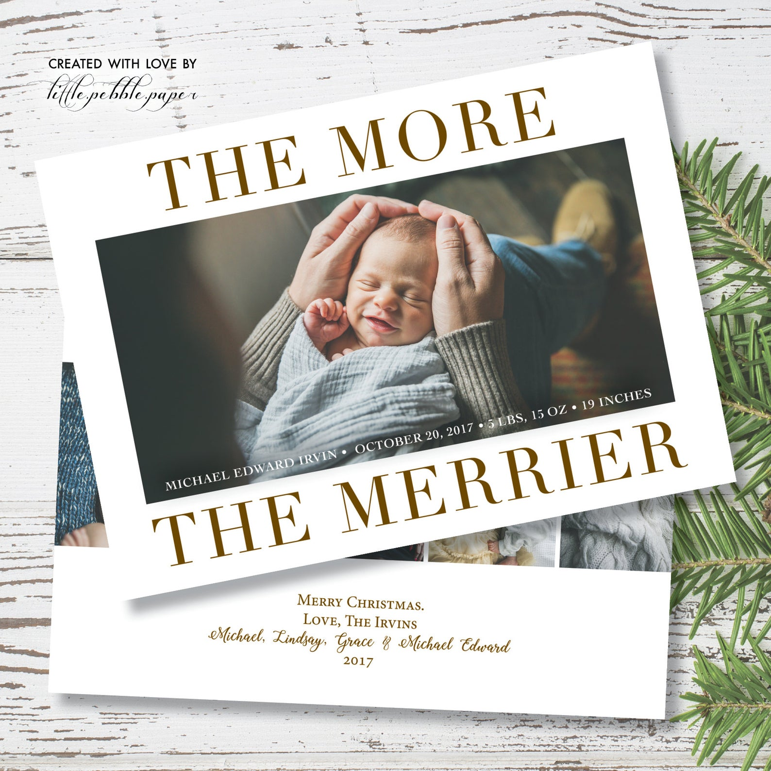 Newborn Christmas Card By Little Pebble Paper
