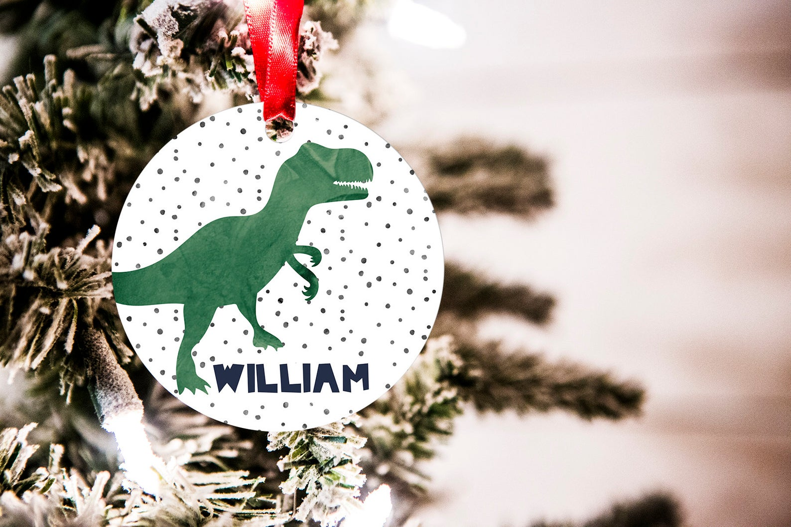 Personalized Watercolor Modern Dinosaur Christmas Ornament By King Print and Design