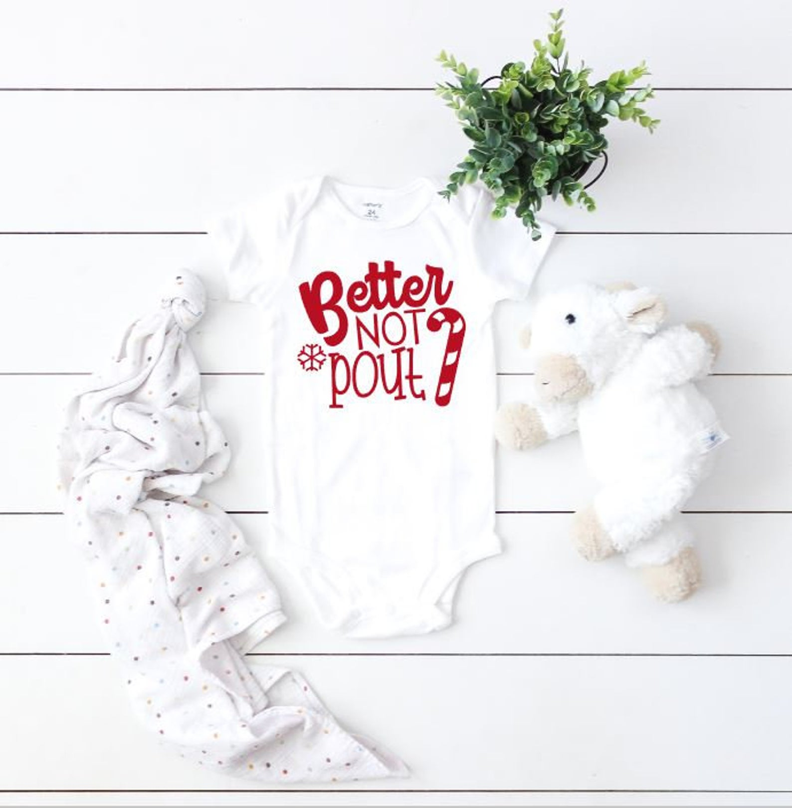Better Not Pout Babies First Christmas Bodysuit By Lucys Chic Boutique