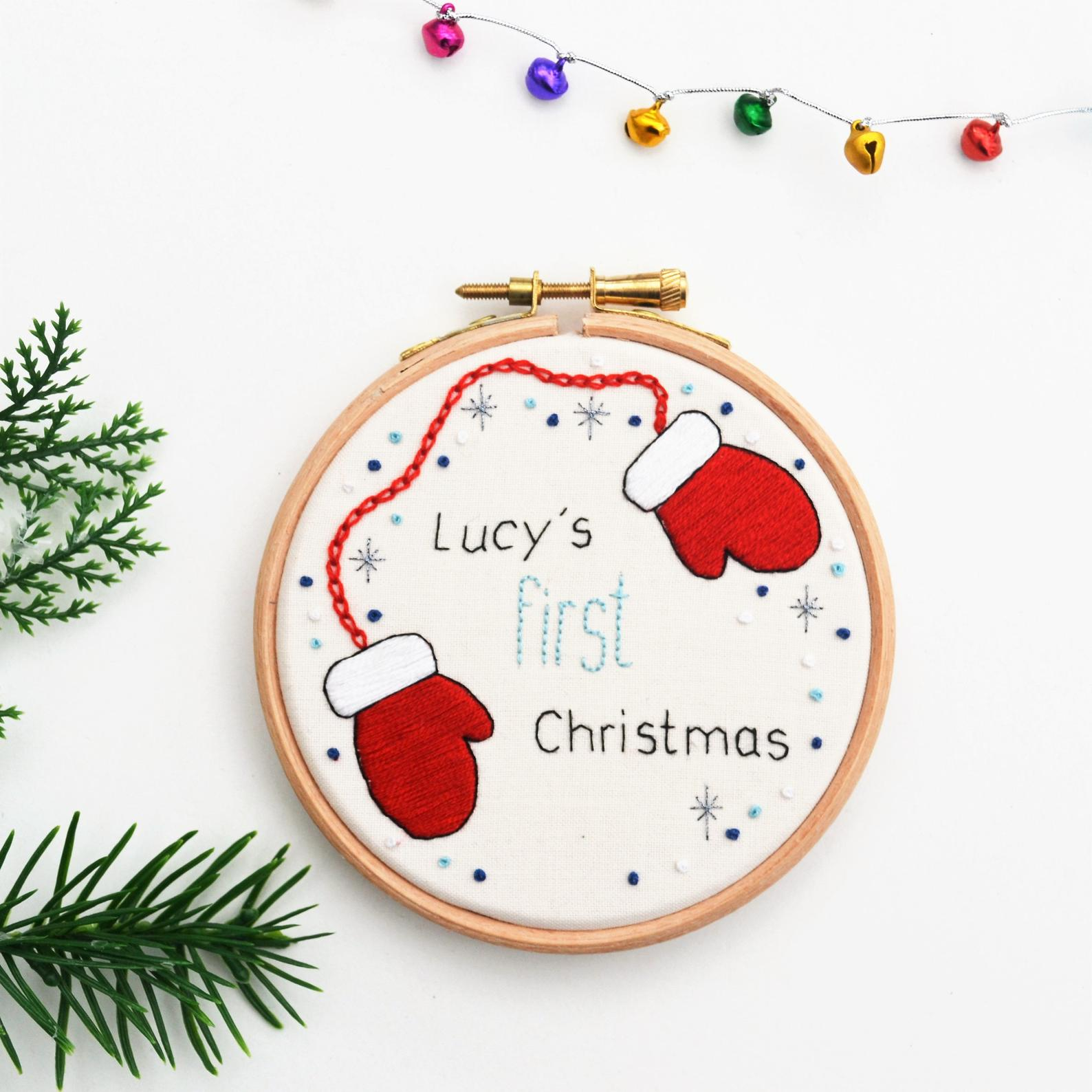 First Christmas Hand Embroidery Christmas Hoop by Pixiecraft Handmade