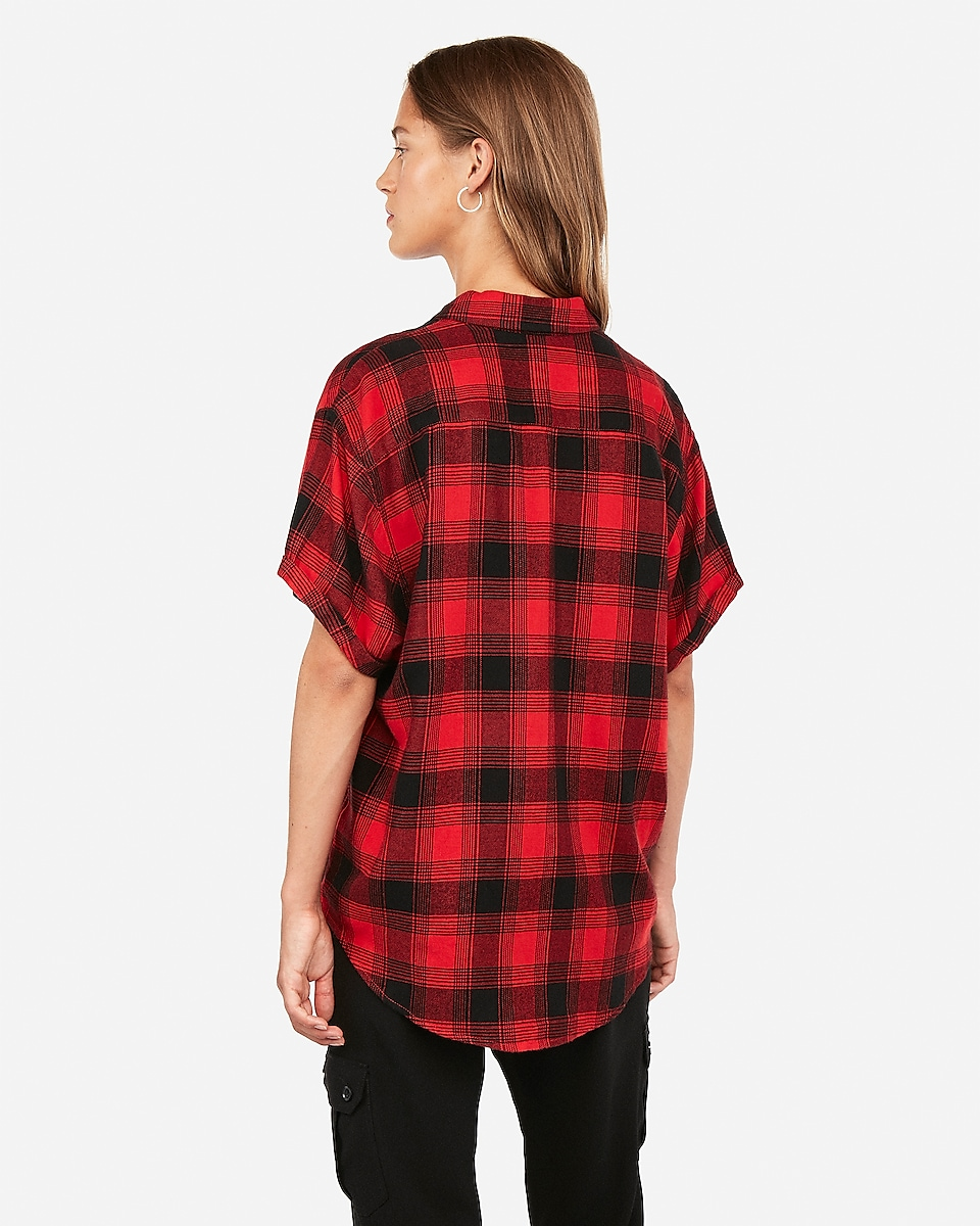 Express Short Sleeve Plaid Flannel Shirt