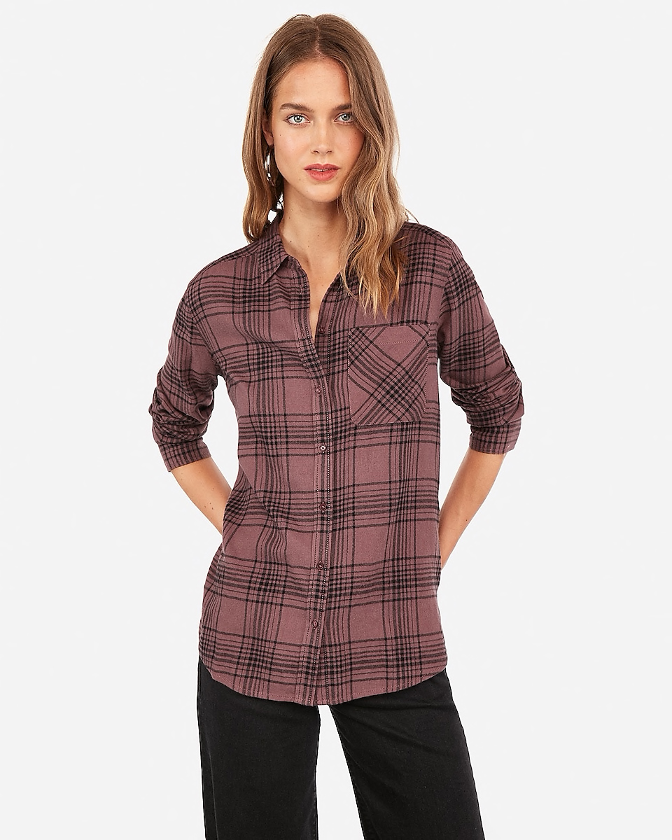 Express Plaid Purple Flannel Boyfriend Shirt