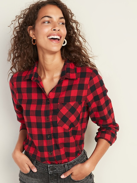 Old Navy Red Buffalo Flannel Red Top
