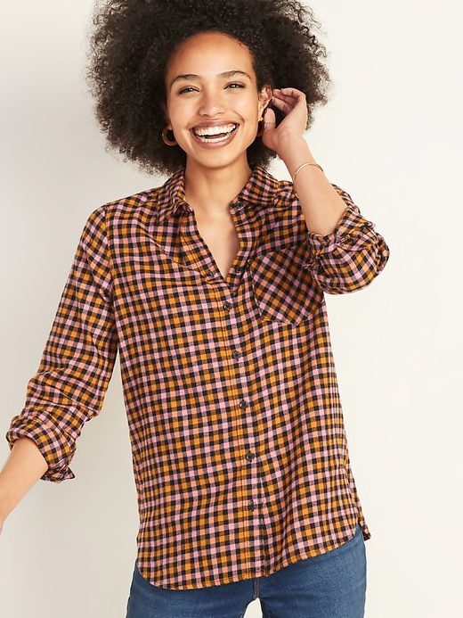 Old Navy Pink and Black Flannel Shirt