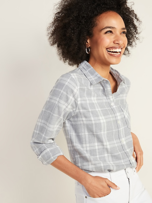 Old Navy Gray Plaid Flannel Shirt