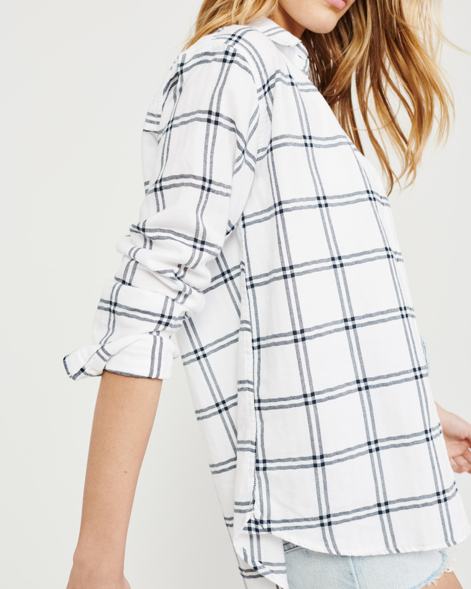 Abercrombie and Fitch White with Black Stripes Boyfriend Plaid Shirt