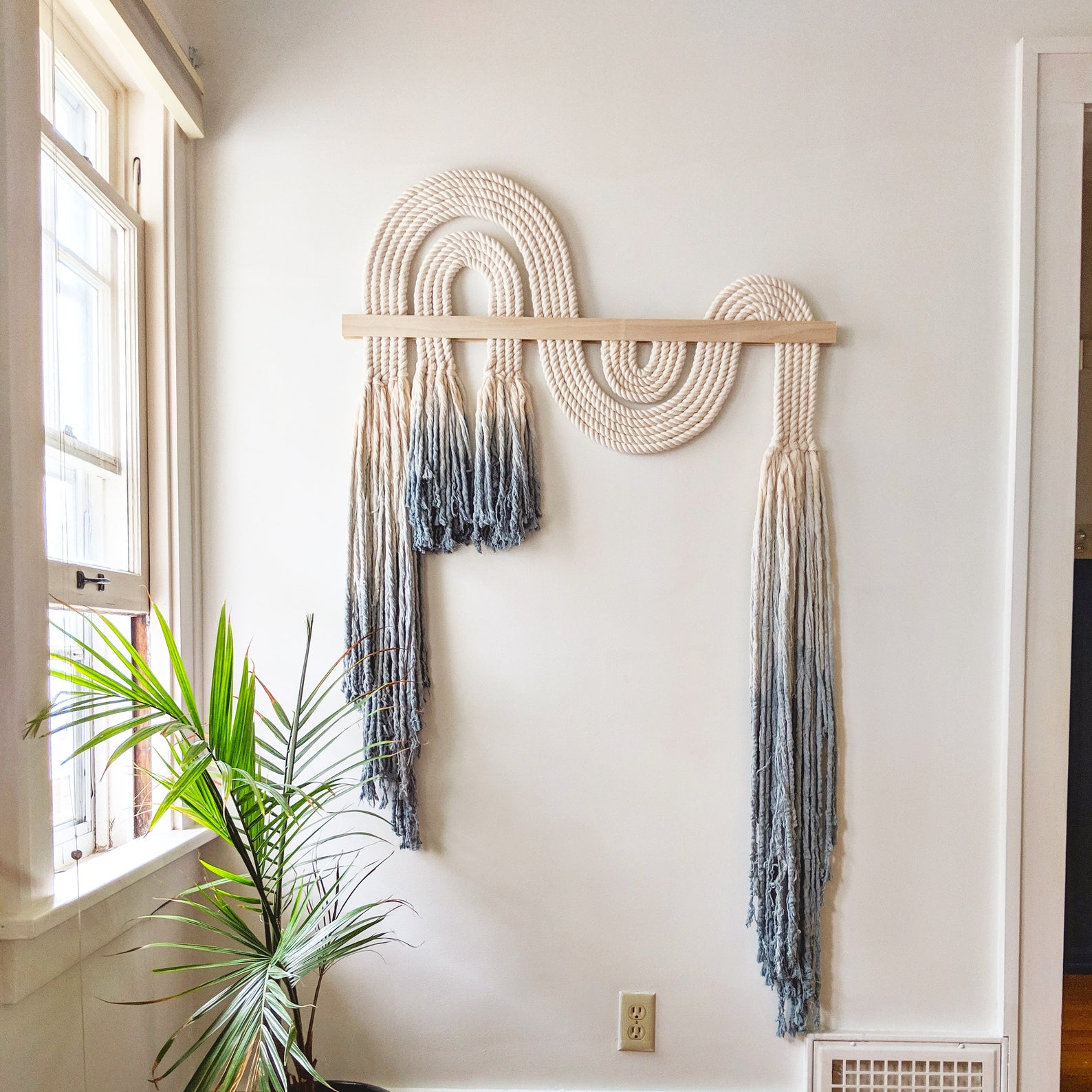 "Large Blue ""Ebb + Flow"" Macrame Wall Hanging By Shopcandiceluter"