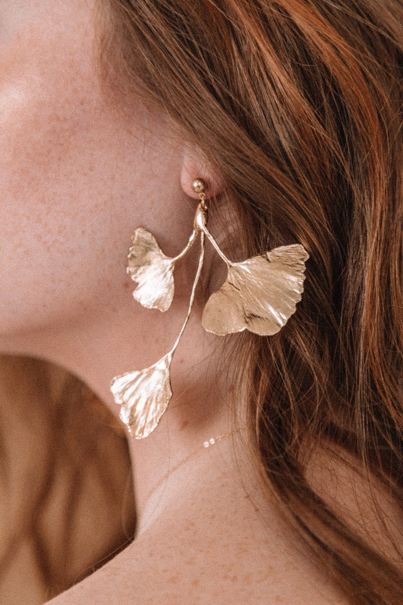 Ginkgo Leaf Cluster Gold Statement Earrings By LazuliHandcrafted