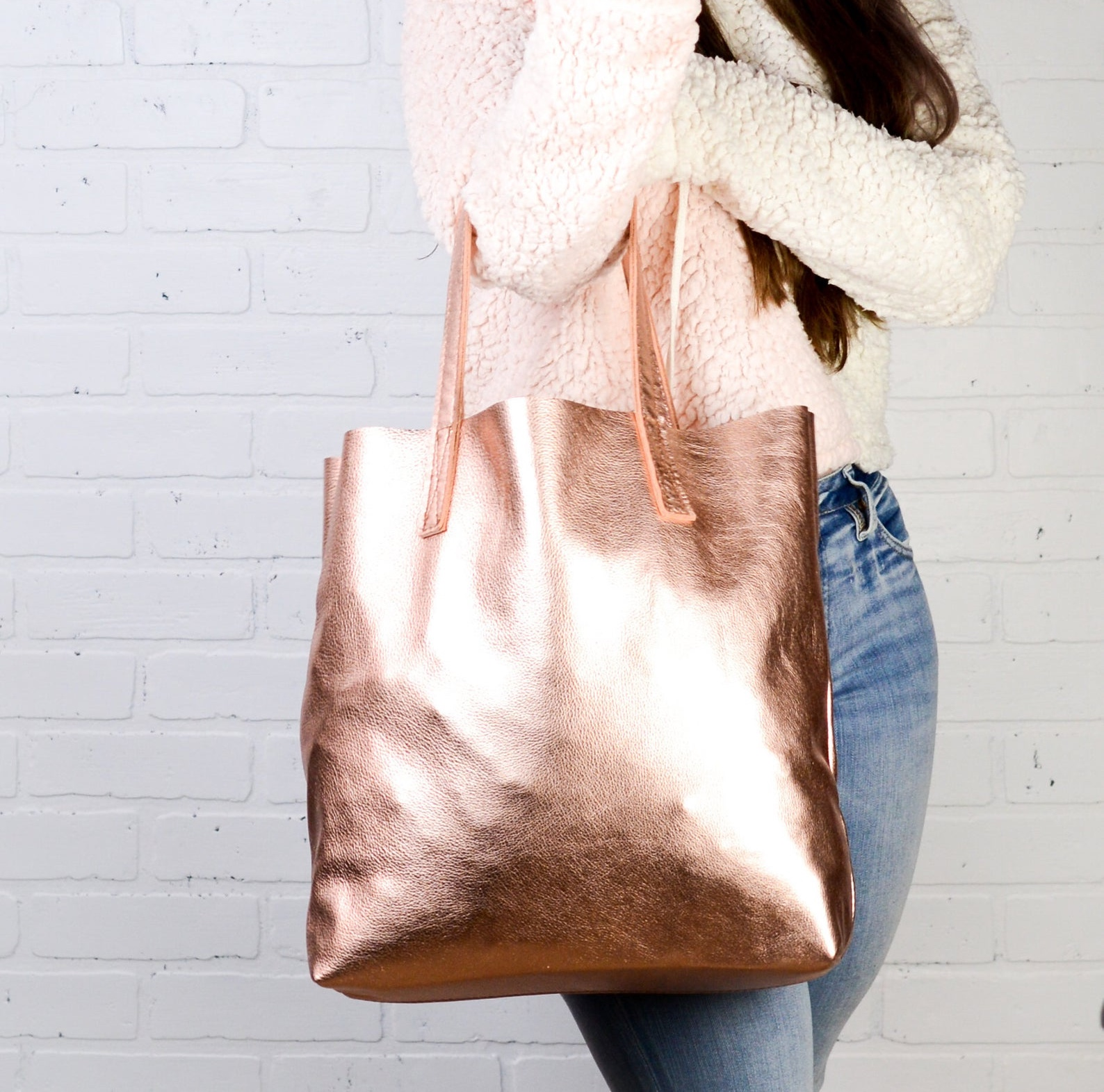 Rose Gold Large Leather Tote Bag By Felix Street Leather
