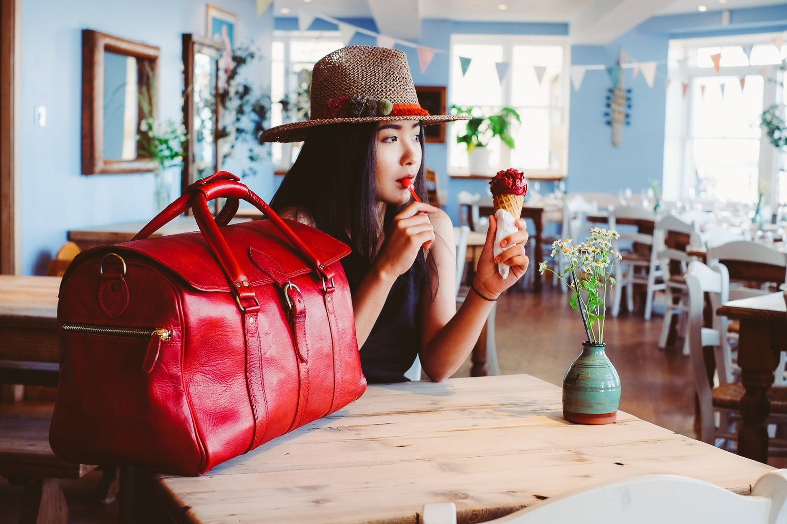 Leather Holdall Red Beach Bag By Linden Leather Co.