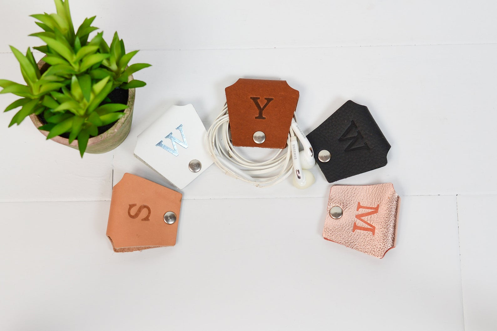 Set of 3 Personalized Earbud Holders By Felix Street Leather
