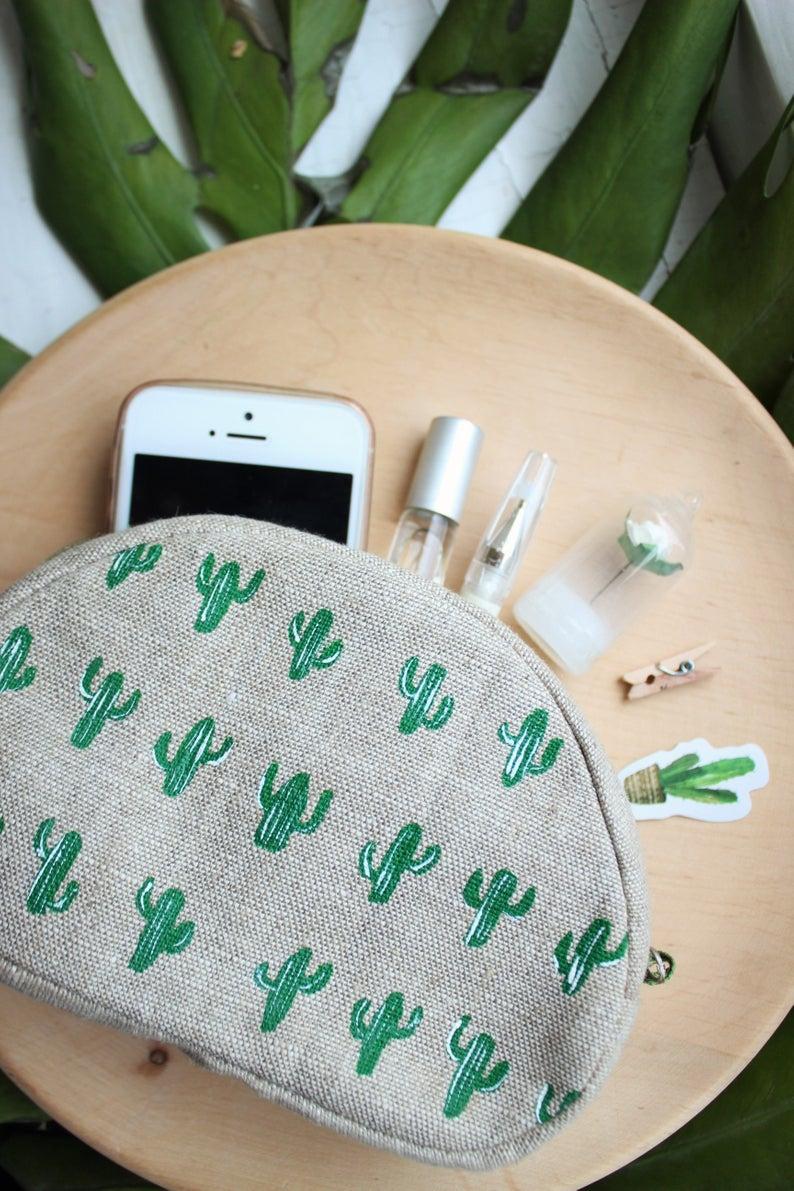 Cactus Cosmetic Bag By Byket Bags