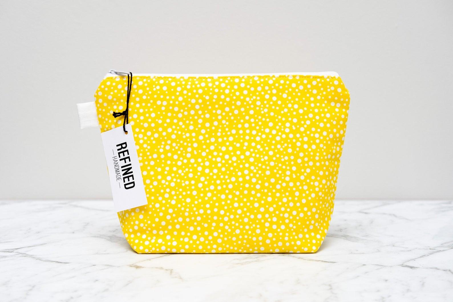 Yellow Dot Makeup Bag By Refined Handmade