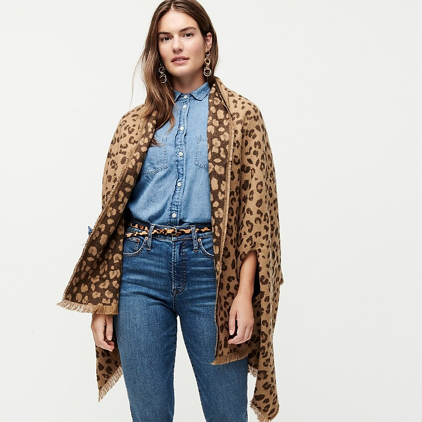 J.Crew Cape-Scarf in Double-Sided Leopard