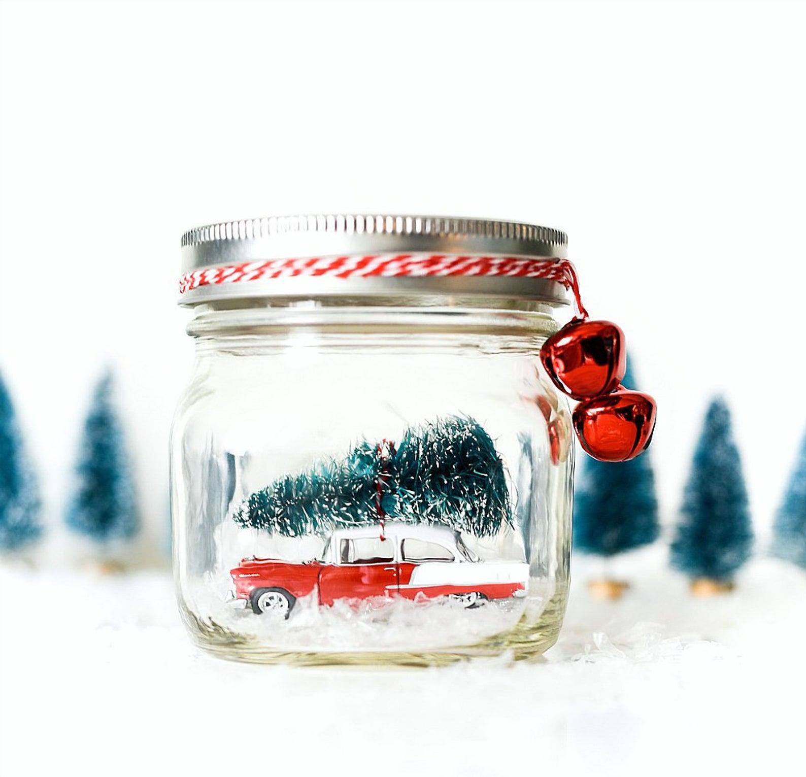 Car in Mason Jar Snow Globe Kit By Drop Cloth Design Co