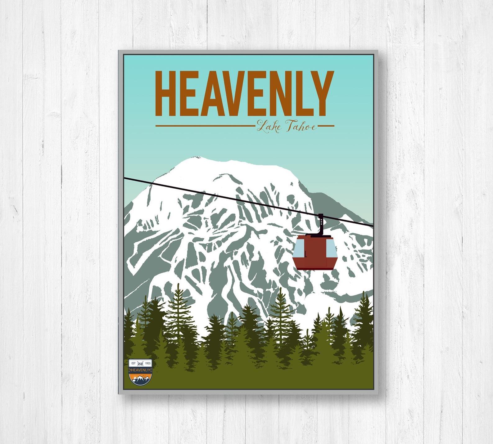 Heavenly Ski Map Resort Illustration By Printed Marketplace