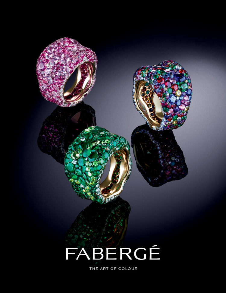 The Emotion Collection, infused with intense colour, explores the intellectual and artistic richness of Fabergé's world. These bold and daring jewels, pushing the boundaries of design and craftsmanship in true Fabergé spirit, explore Bohemian, Impressionist and Fauvist views of vivid colour as an emotional force and an expression of feeling. Emotion Multi-coloured Ring features over 300 gemstones including round white diamonds, rubies, tsavorites, emeralds, and orange, pink, purple, yellow and blue sapphires, set in 18 karat yellow gold.