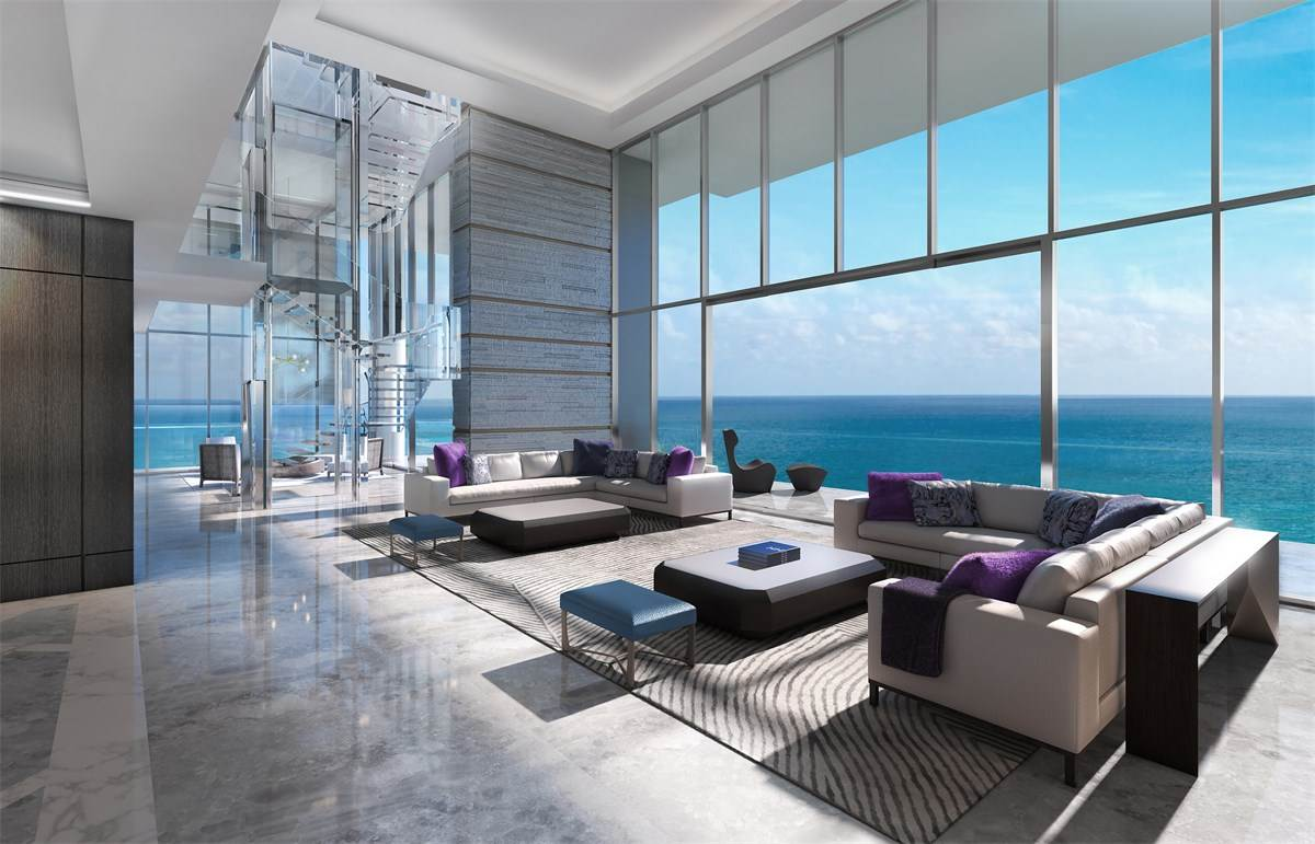 L'Atelier is the latest luxury development to break ground in North Beach. The penthouse, rendering above, spans the 17th and 18th floors connected by a floating glass staircase in its living room. It will list for $25 million. Courtesy of L'Atelier Residences