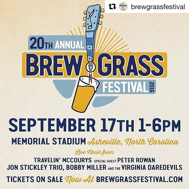 Check out our sister event - @brewgrassfestival - to be held on September 17th in Asheville, NC!