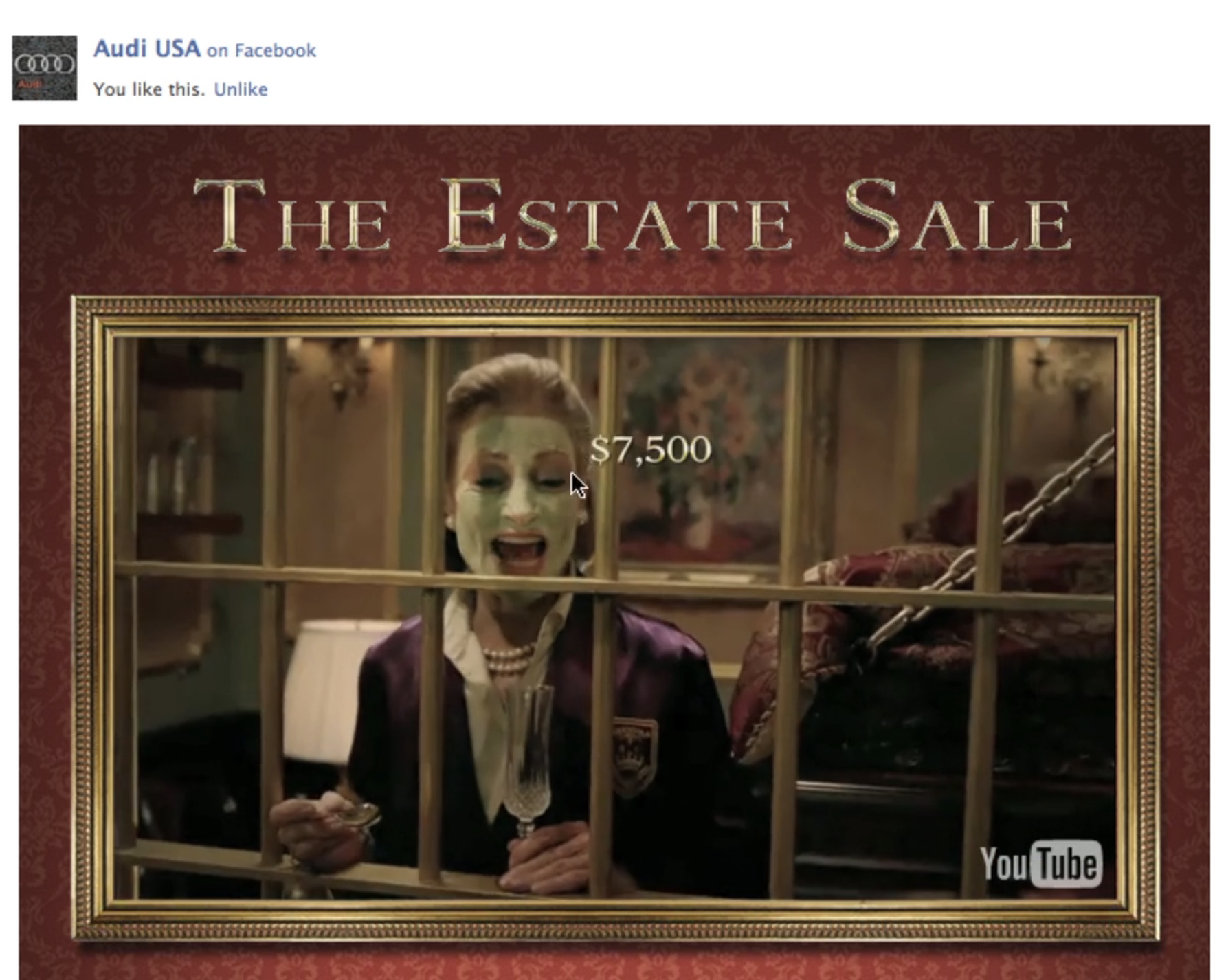 Audi Estate Sale - Facebook app turns YouTube video of Super Bowl spot into interactive game and contest.
