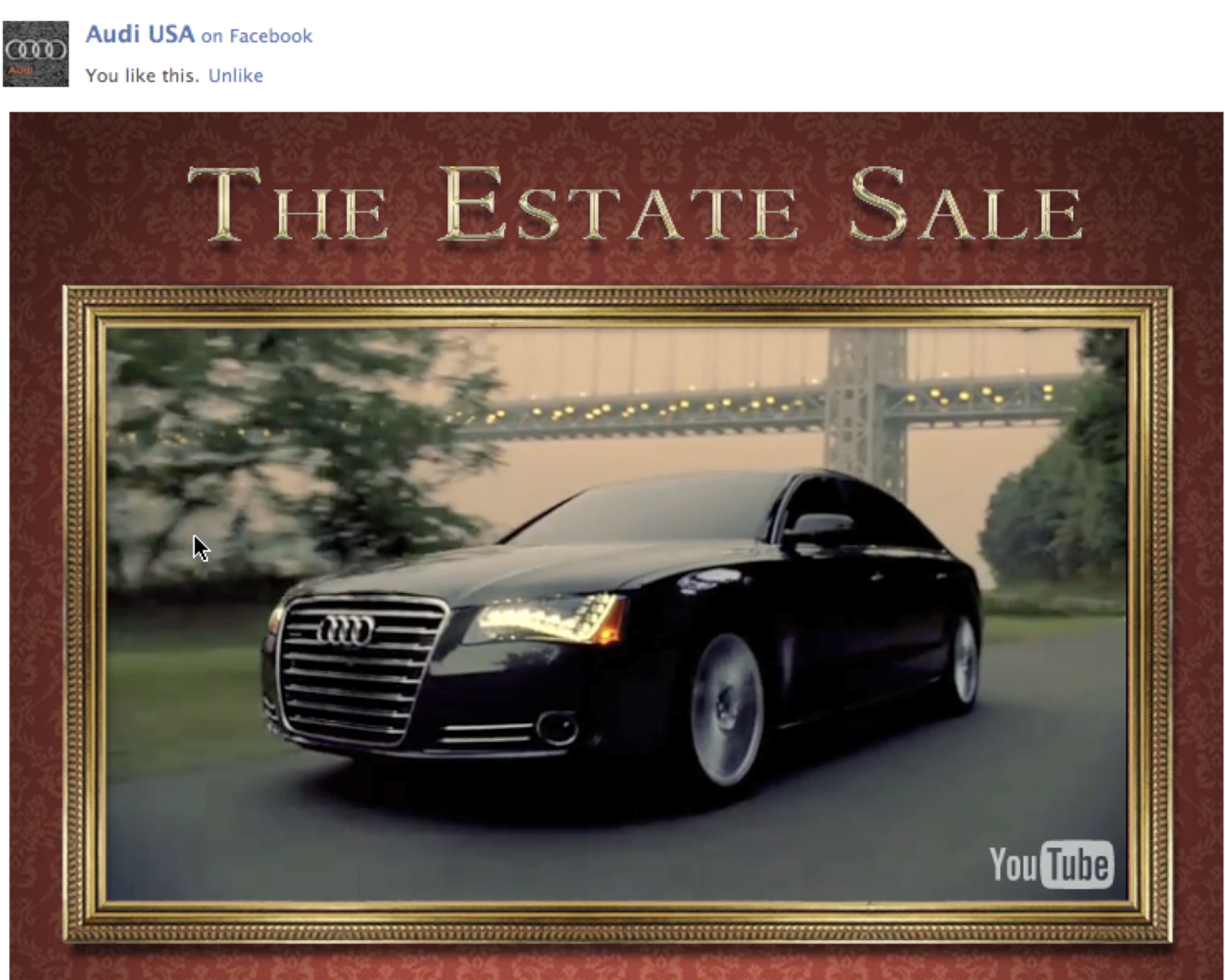 Audi Estate Sale - Facebook app turns YouTube video of Super Bowl spot into interactive game and contest. Game concept, UX, game strategy, art direction, production, creative tech lead.