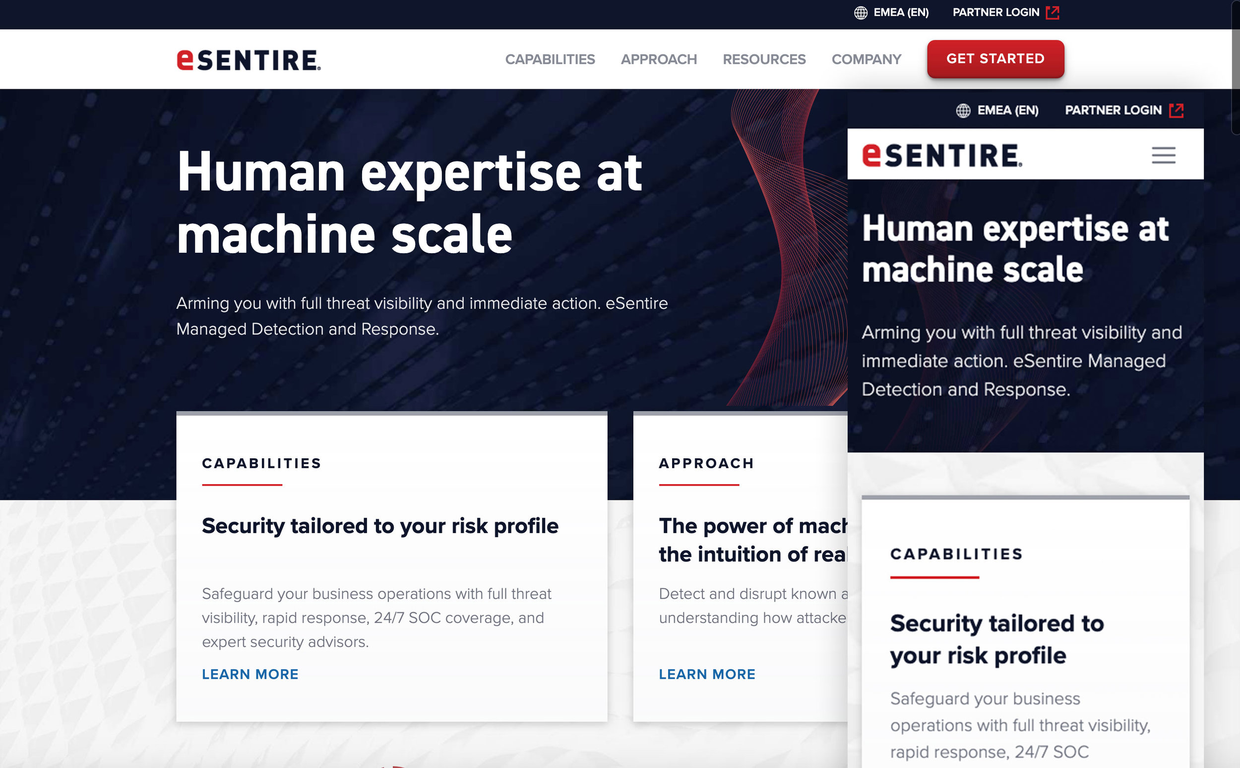 eSentire Cybersecurity - eSentire brand redesign and site refresh. Content Strategy, UX Design, UX Copy
