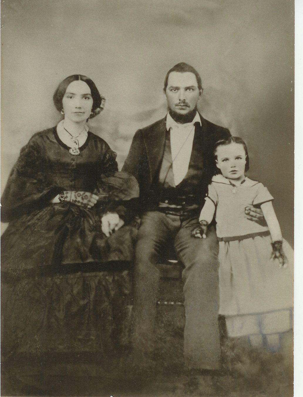 James Jackson, his wife Margaret Aisley Long Jackson, and their only daughter, at the time, Emma Bolling Jackson (Cowan).  The picture was taken just before James entered the Confederate Army.