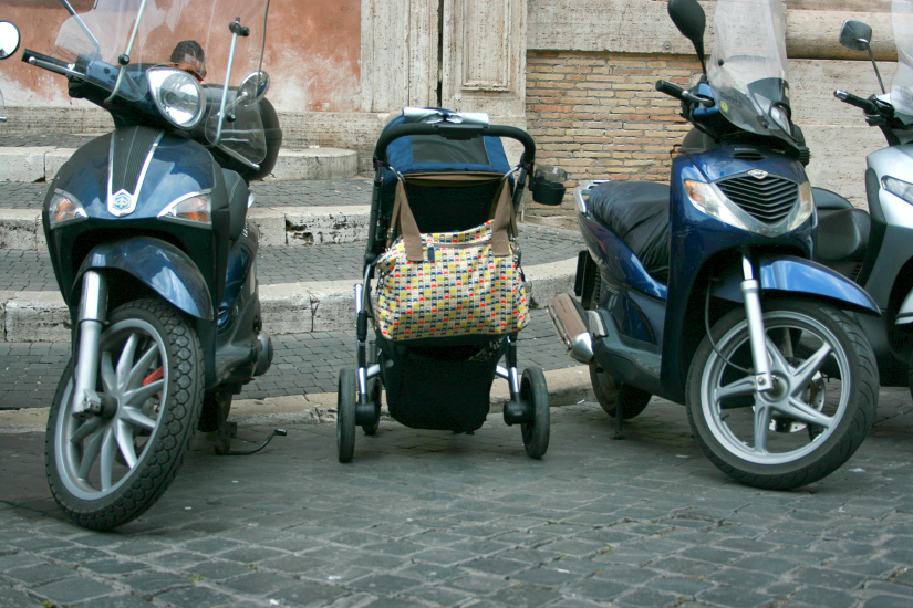 Obviously, we park the stroller next to the vespas.