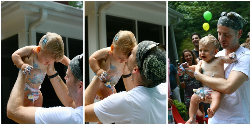 Sometimes a boy just needs his dad. Especially when everyone is staring at the icing on your face.
