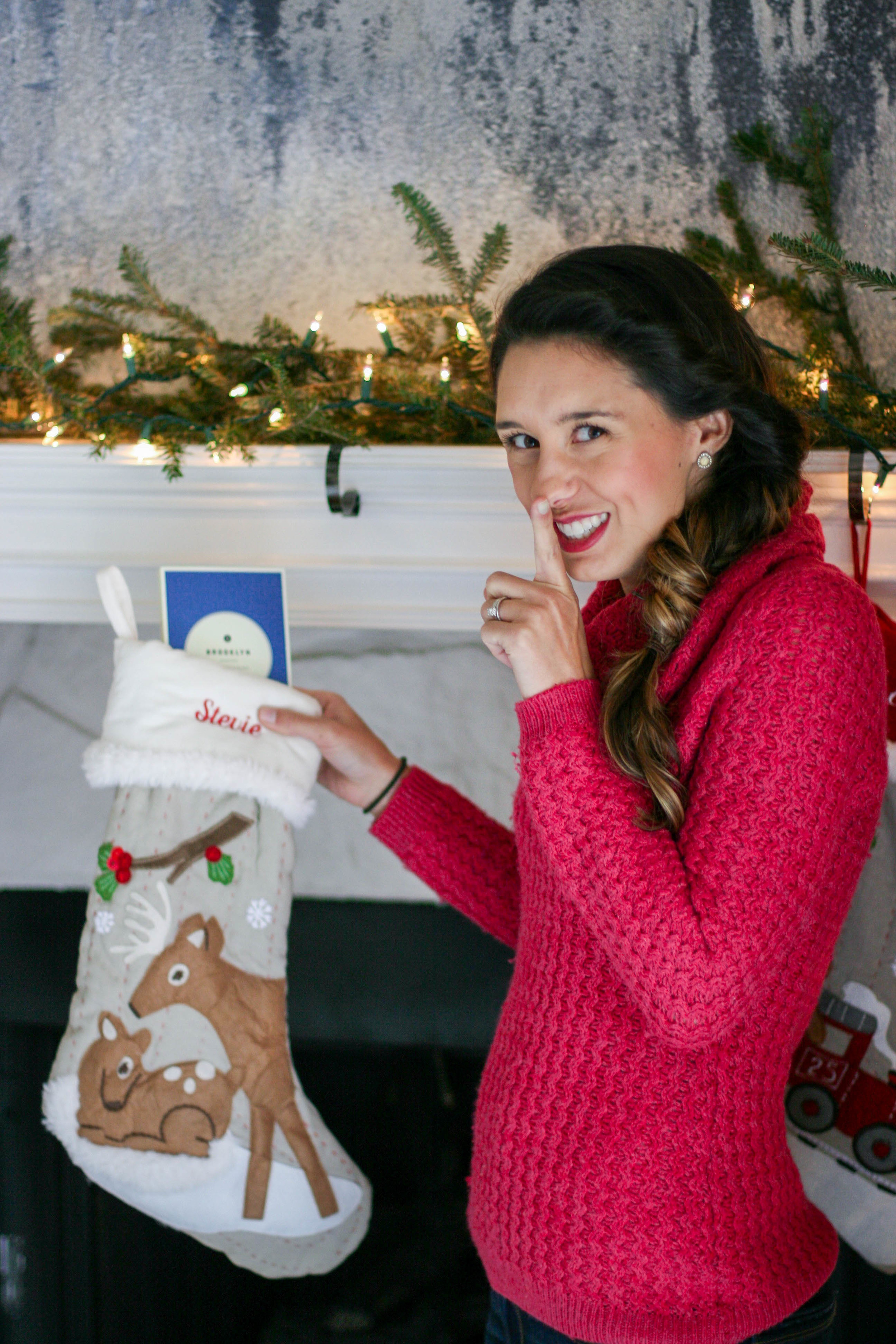 Shhhhhh! Stevie doesn't know that the stockings actually have gifts in them yet :)