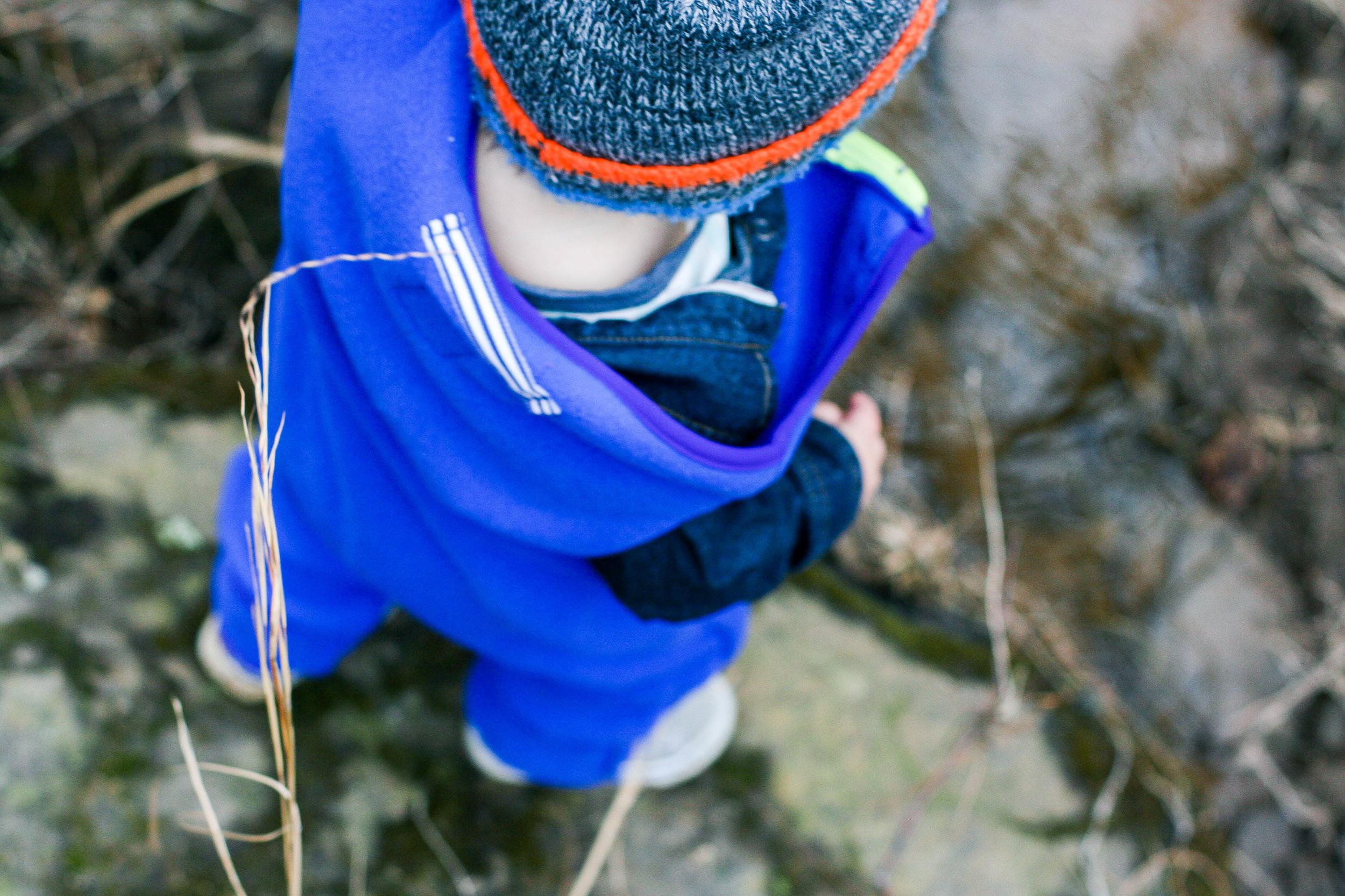 Everett is wearing  the Trailhopper,  C/O Cozey7 in frost blue.