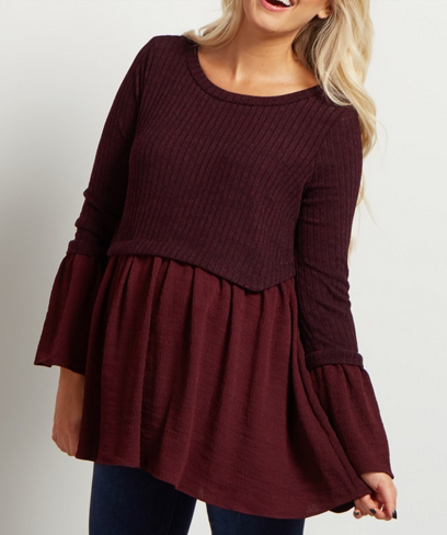 Burgundy Ribbed Peplum Top