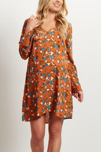 Rust Floral Print V Dress
