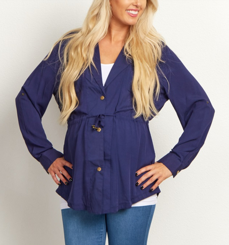 Navy Cinched Blouse Jacket