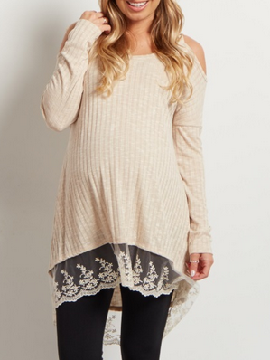Taupe Cold Shoulder Lace Top