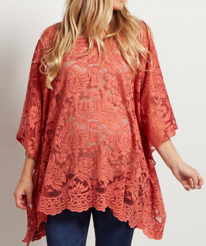 Rust Floral Lace Poncho