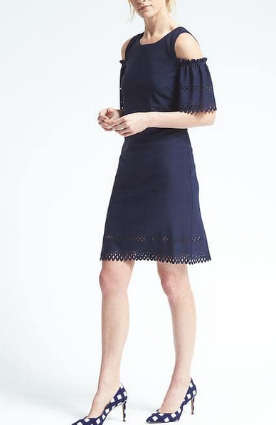 Lasercut Crepe Cold Shoulder Dress