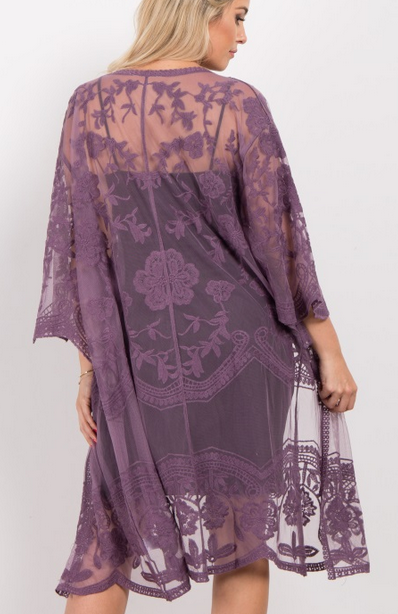 Purple Lace Mesh Long Maternity Kimono  - Pinkblush