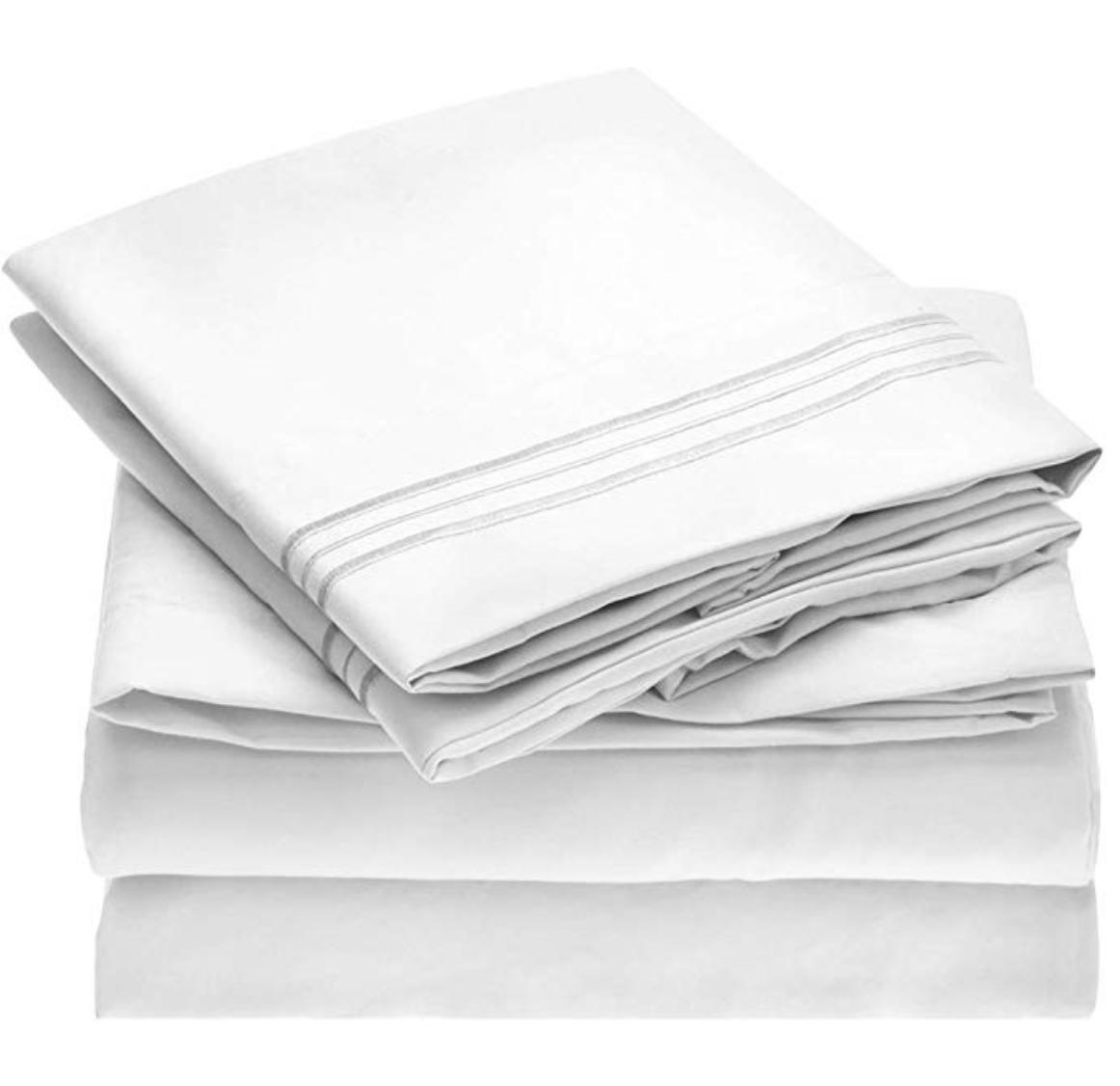 Mellanni Sheet Set - 4-Piece King Sheets, White